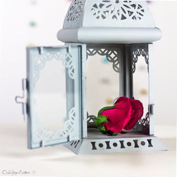 Party Decor Lantern Centerpiece - Card stock accents - Pastel Gray Candle Holder - Wedding - Birthday - Engagement Party Decor