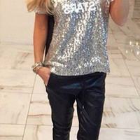 Bling  Letters Printed T-Shirt
