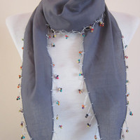 Cotton Bead Scarf,Crochet Scarf,Wooden Beaded Grey Scarf
