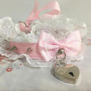 MADE TO ORDER- Pink and White Lace Elegant Spiked Heart Padlock Collar