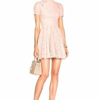 mock Neck Lace Skater Mini Dress