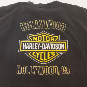 Unisex Vintage Hollywood Harley Davidson Tee | Super Soft Grunge Biker Paper Thin T-Shirt | Western Moto Mens S M or Womens M L XL