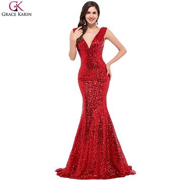Long Mermaid Prom Dresses Grace Karin Sequin V Neck Black Red Golden Blue Formal Gowns Robe De Soiree Longue Party Dress Prom