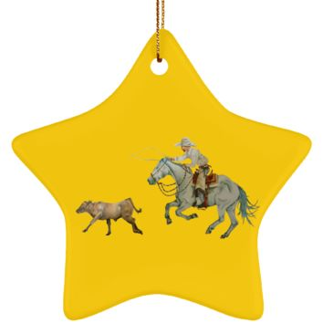 In Pursuit, Cowboy Calf Roping Ceramic Star Ornament