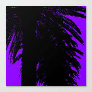 Palm Trees Silhouette - Purple Sunset Canvas Print by Moonshine Paradise