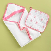 Baby Robes & Baby Towels: Pink Hooded Towel and Pink Washcloth in Robes & Hooded Towels | The Land of Nod