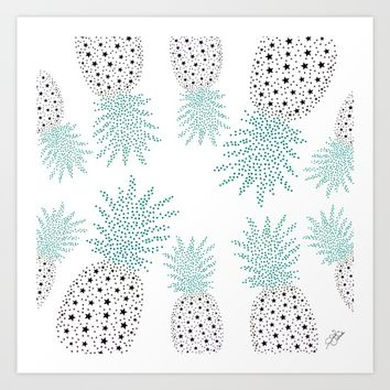 Pineapple Pattern Art Print by ES Creative Designs