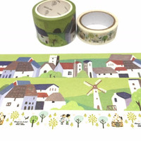 countryside windmill washi tape 5Mx 3cm Green landscape farm view countryside village wide tape Masking tape nature scenes tape decor