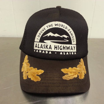 "Vintage 1980's Alaska Highway Snapback Hat Mesh Trucker Hat With Military branches ""Scrambled Eggs"" on Brim Tourist Hat"