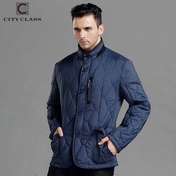 CITY CLASS Spring Autumn Mens Casual Coats Jacket Business Leisure Slim Fit Stand Collar Fashion Elbow patch Outwears 14424