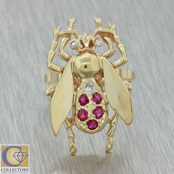 1940s Antique Vintage Estate 14k Solid Yellow Gold Ruby Diamond Giant Fly Ring