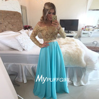 Gold / Turqurise Off The Shoulder Sequined Prom Dress With Long Sleeves
