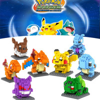 1PC Pokemon Figures Model Toys Pikachu Charmander Bulbasaur carte pokemon Child pokemon figures Anime Building Blocks