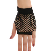 Black Fishnet Wrist Gloves