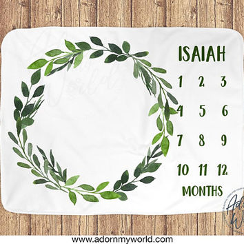 Baby Boy Monthly Blanket, Boy Month Blanket, Boy Milestone Blanket, Green Leaves, Foliage Blanket, Greenery, Green Wreath, Baby Boy Gift