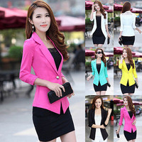 New Fashion Womens Candy Color Basic Slim Foldable Suit Jacket Blazer 5 Colors