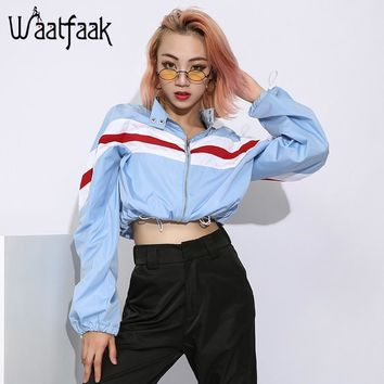Trendy Waatfaak Short Cropped jacket Women Long Sleeve Blue Bomber jacket Windbreaker Patchwork Drawstring Loose Fashion Autumn Coat AT_94_13