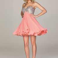 Beautiful A-line Sweetheart Neckline Sequins Mini Chiffon Graduation Dress -SinoSpecial.com