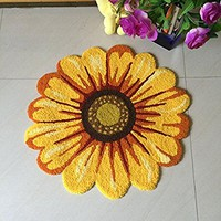 TideTex Rural Style Floral Round Rug Mats Yellow Pretty Sunflower Area Rug Bedside Foot Pad Home Floor Decoration Carpet Bath Mats Toilet Rugs Chair/Table Non-slip Pads (2'1x2'1, Yellow)
