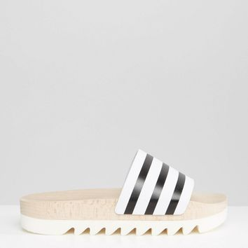 adidas Originals Adilette Wooden Sole Slider Flat Sandals