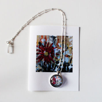 The Pink Flower Necklace and Card Gift Set