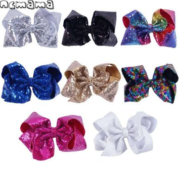 8 Inch Girls' Sequin Hairclips Ribbon Hairbows Handmade Jumbo Hairpins Dance Party Headwear Handmade Kids' Hair Accessories