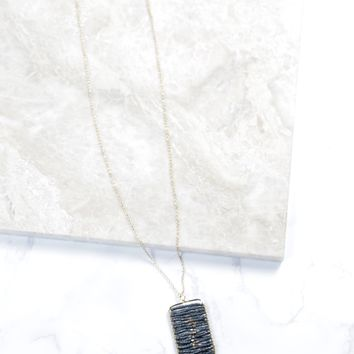 Beaded Rectangle W/ Tassel Necklace, Grey