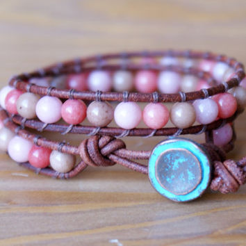 Mixed Jade Bohemian beaded leather wrap bracelet, double, Pink, Coral, Cream, beige, gemstone, boho glam, jewelry, gift idea, hipster, SALE