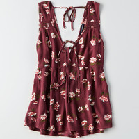 AEO Strappy Tie-Front Tank, Burgundy