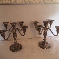 2 Vintage 5 Arm Candelabras ~ Silverplate Taper Candle Holders ~ Godinger Silver Art Co. Romantic Shabby Chic