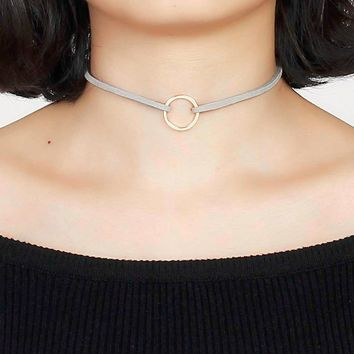 """Doreen Box New Fashion Gray Velvet Suede Choker Necklace Gold color Circle Ring Pendant 33cm(13"""") long, 1 Piece new"""