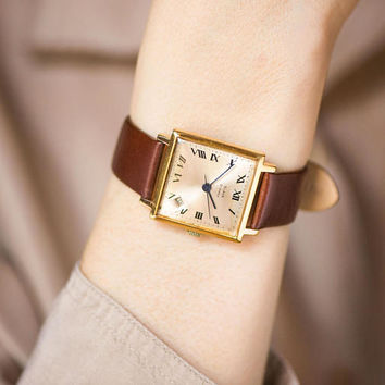 Square unisex watch vintage, gold plated watch Glory, very rare face watch Glory,  boyfriend watch beige face, genuine leather strap new