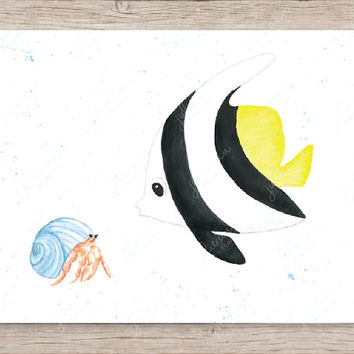 Butterflyfish and Hermit Crab Art Print, Nursery Art, Ocean Nursery Decor, Kids Wall Art, Baby Room Art, Under the Sea Nursery, Crab Art