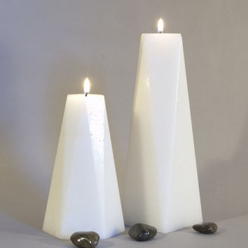 Set of Two Candles - Hexagon and Octagon Pair of Pillars