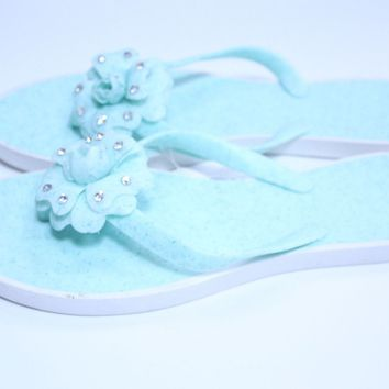 New women fashion flowers green color jelly flip flop slippers sandals-size 9