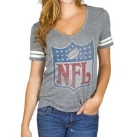 Junk Food NFL Shield Ladies Tailgate Tri-Blend T-Shirt - Ash
