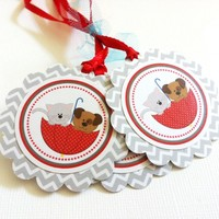 Puppy and Kitten Gift Tags in Chevron