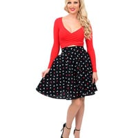 Black Scotty & Dots High Waist Flare Skirt