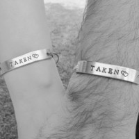 Set of 2 TAKEN Couples Friendship Bracelet Custom Hand Stamped Name Tie On Hemp Cord His and Hers