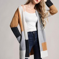 Cut And Sew Open Front Cardigan