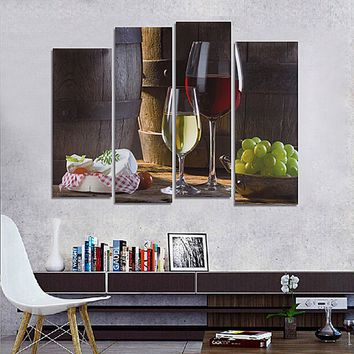 4PCS Unframed Modern Abstract Canvas Wall Art Oil Print Painting