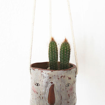 Ceramic Hanging Planter - 'Loretta' Face by Megan Clarke