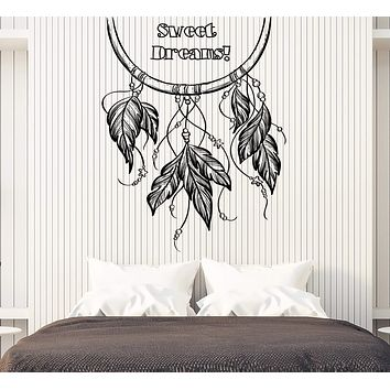 Vinyl Decal Wall Sticker Phrase Words Wish for Sweet Dreams Bedroom Decor Unique Gift (n749)