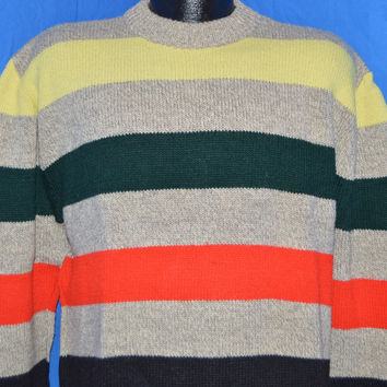 80s Striped Wool Pullover Crewneck Sweater Large