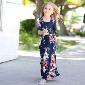 Flower Kids Dresses 2018 New Long Sleeve Cotton Children Princess Dress Spring Girls Beach Dresses for Party Holiday