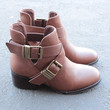 tan cut out ankle boot