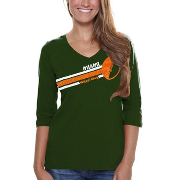 Miami Hurricanes Ladies Football Glitter Half Sleeve V-Neck T-Shirt - Green