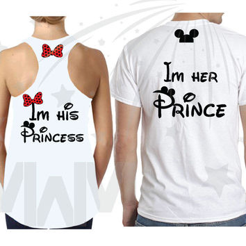 I'm His Princess I'm Her Prince Cute Minnie Mouse Bow Mickey Mouse Head on Hood, Free Shipping and a Gift Backpack, Married With Mickey, 116