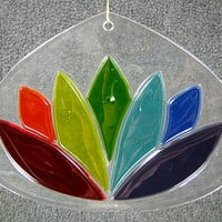 Glass Rainbow Lotus Suncatcher, Chakra Suncatcher,Rainbow Suncatcher