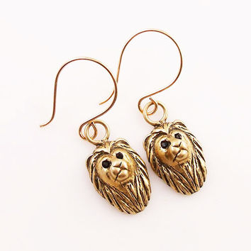 Animal Lion Yellow Bronze Earrings